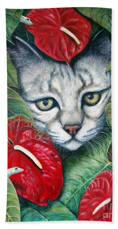 Cat Beach Towel featuring the painting Anthurium Assassins by Joey Nash