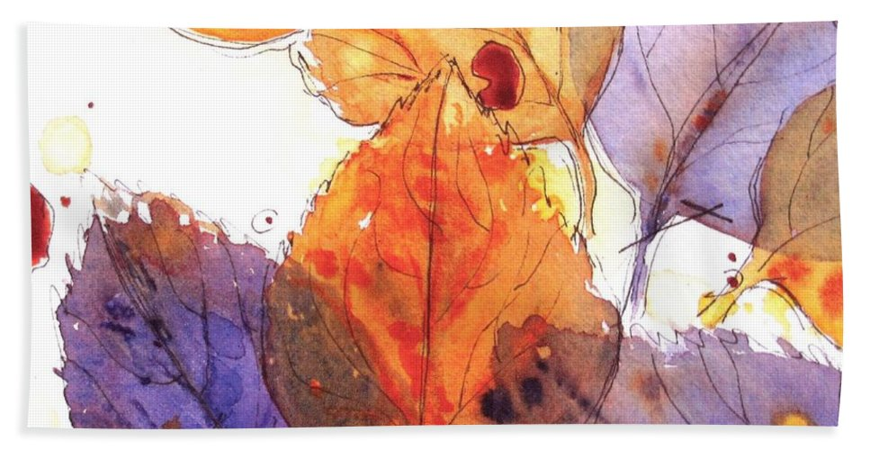 Autumn Leaves Beach Towel featuring the painting Anticipating Autumn by Dawn Derman