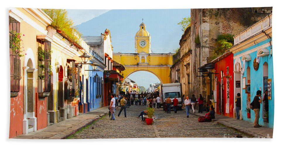 Guatemala Beach Sheet featuring the photograph Antigua Guatemala Clock by Carey Chen