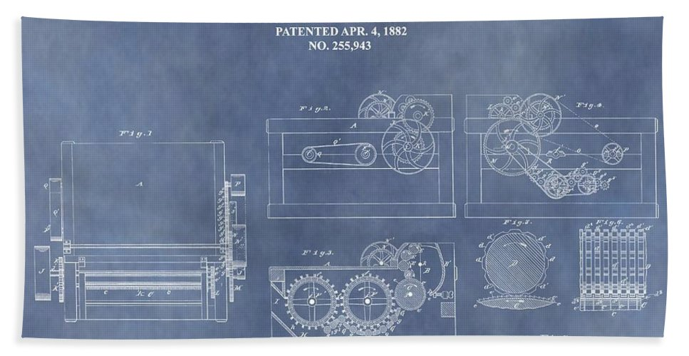 1882 Cotton Gin Patent Beach Towel featuring the mixed media Antique Cotton Gin Patent by Dan Sproul