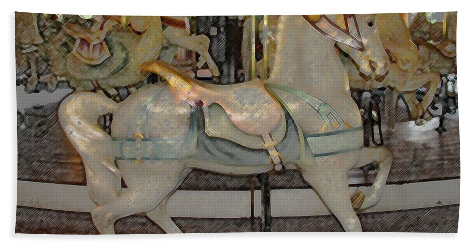 Horses Beach Towel featuring the photograph Antique Dentzel Menagerie Carousel Horse Colored Pencil Effect by Rose Santuci-Sofranko