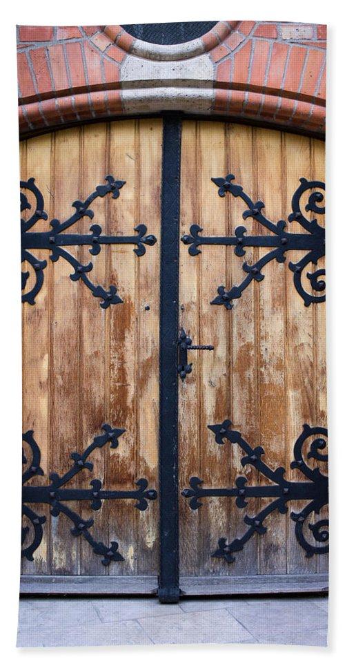 Door Beach Towel featuring the photograph Antique Wooden Door by Artur Bogacki