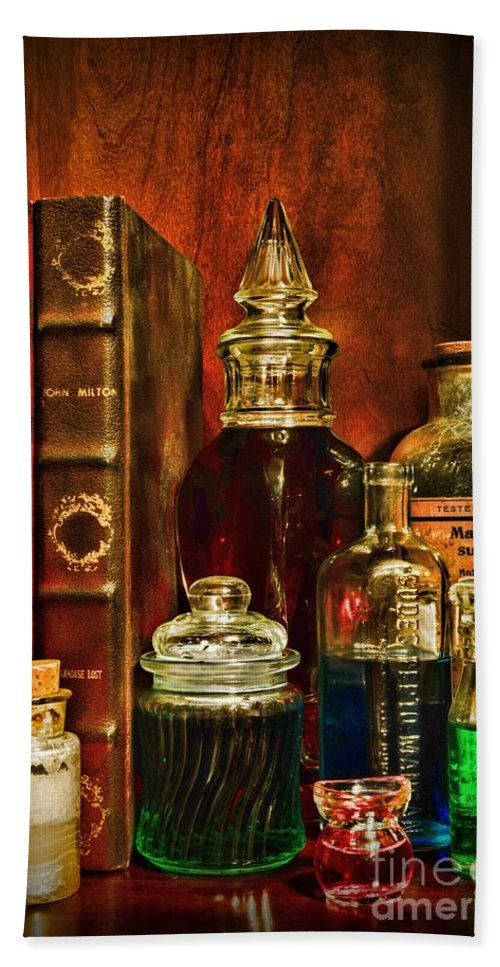 Paul Ward Beach Towel featuring the photograph Apothecary - Vintage Jars And Potions by Paul Ward