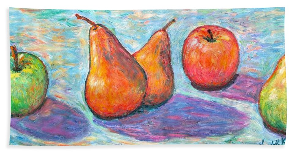 Apples And Pears Beach Towel featuring the painting Apple And Pear Twirl by Kendall Kessler