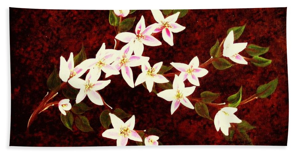 Apple Blossoms Beach Towel featuring the painting Apple Blossoms by Barbara Griffin
