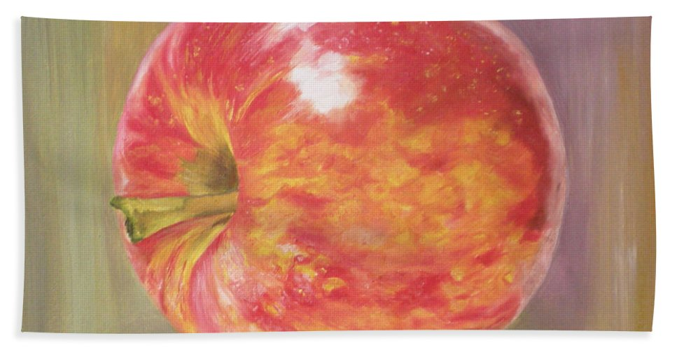 Apple Beach Towel featuring the painting Apple by Graciela Castro