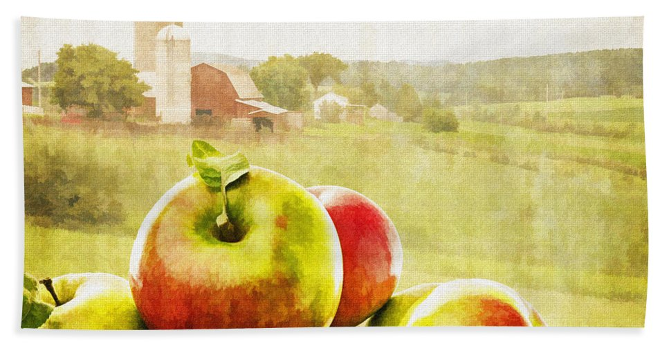 Vermont Beach Towel featuring the painting Apple Picking Time by Edward Fielding