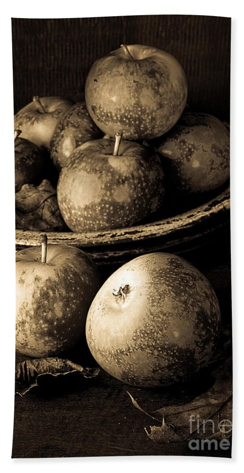 Fruit Beach Towel featuring the photograph Apple Still Life Black And White by Edward Fielding