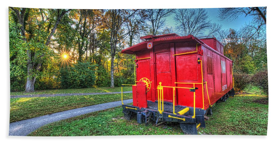 Historic Beach Towel featuring the photograph Appomattox Caboose At Sun Rise by Greg Hager