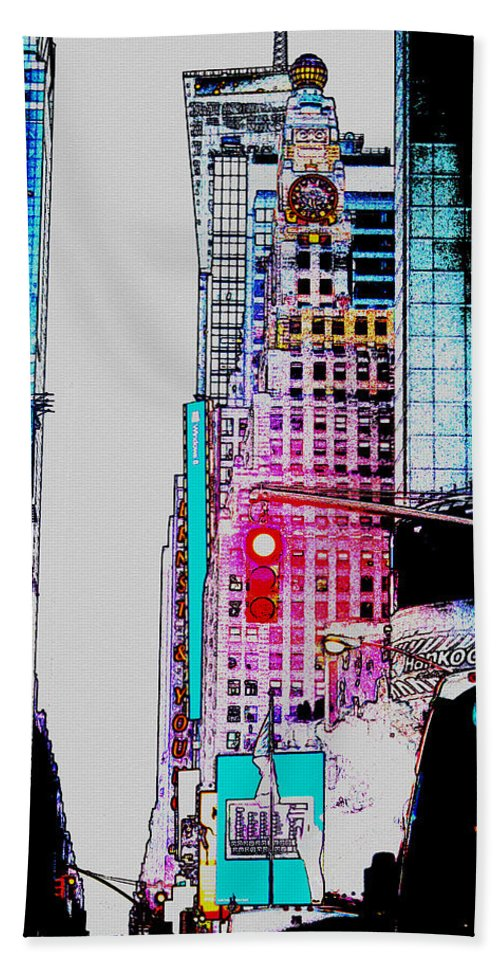 Digital Art Beach Towel featuring the digital art Approaching Times Square by Teresa Mucha