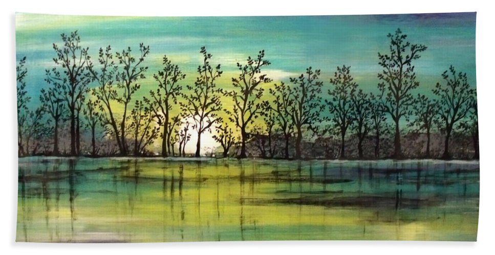 Painting Beach Towel featuring the painting Aqua Sunset by Jean Plout