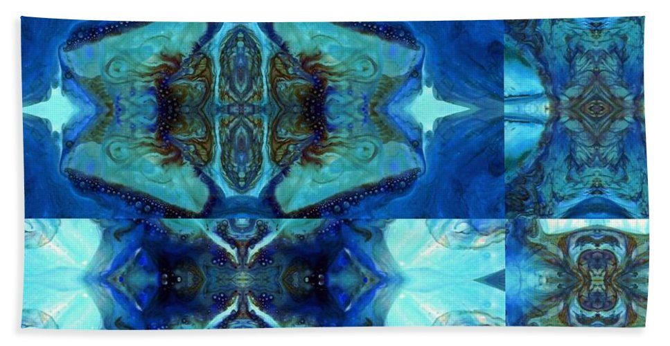 Blue Painting Beach Towel featuring the painting Aquatic Rhythm by Wolfgang Schweizer