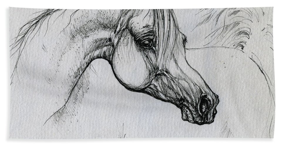 Horse Beach Towel featuring the drawing Arabian Horse Drawing 28 by Angel Tarantella