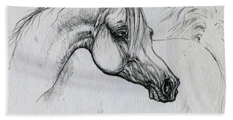 Horse Beach Sheet featuring the drawing Arabian Horse Drawing 28 by Angel Ciesniarska
