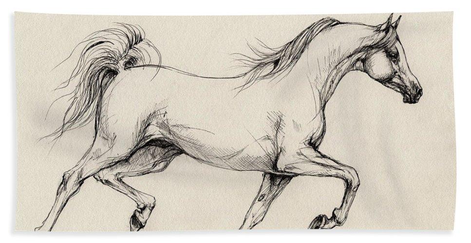 Grey Beach Towel featuring the drawing Arabian Horse Drawing 31 by Angel Ciesniarska