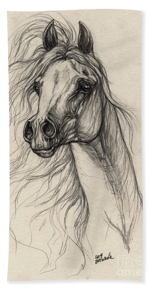 Horse Beach Towel featuring the drawing Arabian Horse Drawing 37 by Angel Tarantella