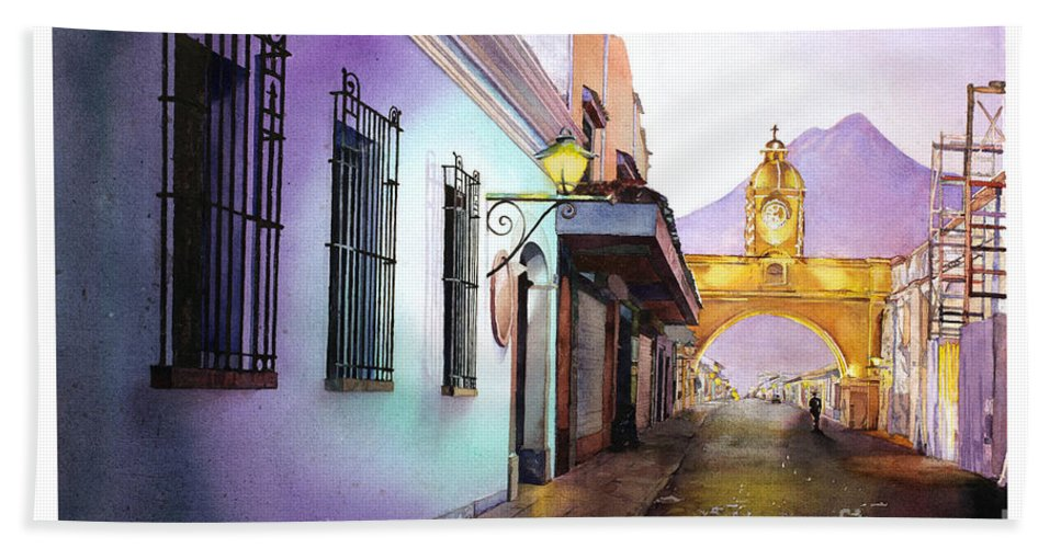 Guatemala Beach Towel featuring the painting Arch- Antigua by Ryan Fox
