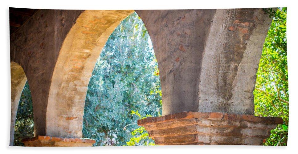 San Juan Capistrano Beach Towel featuring the photograph Arches At Mission San Juan Capistrano by Richard Cheski