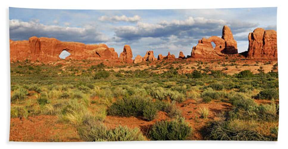 Turret Arch Beach Towel featuring the photograph Arches National Park Panorama by Dave Mills