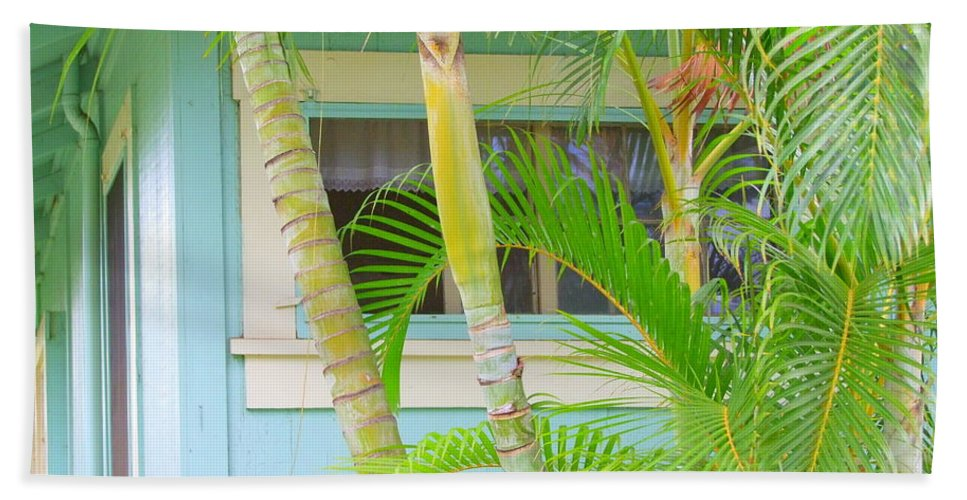 Window Beach Towel featuring the photograph Areca Palms At The Window by Mary Deal