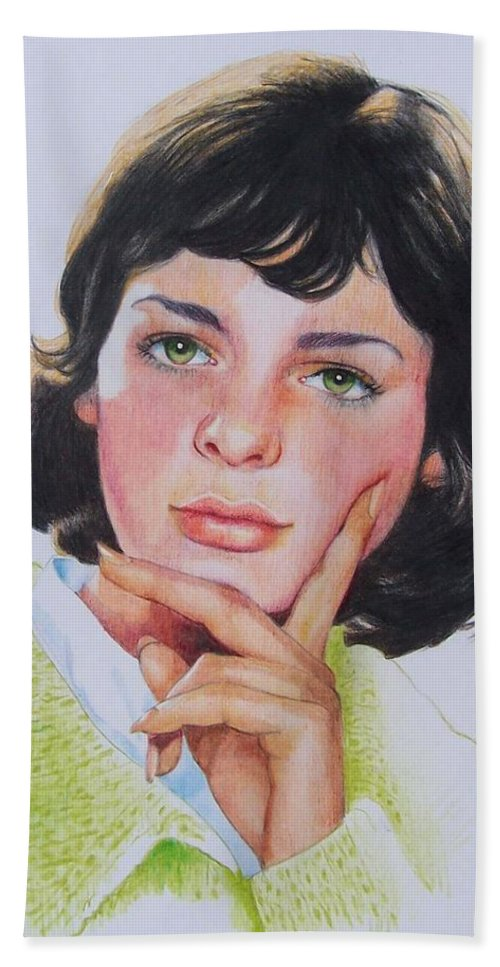Portrait Beach Towel featuring the mixed media Ariane by Constance Drescher