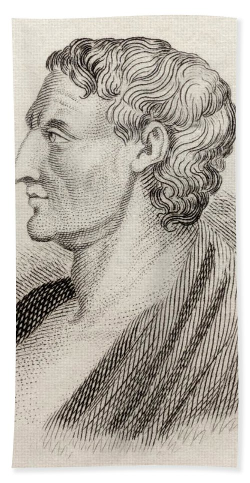 Male; Intellectual; Profile; Portrait Beach Towel featuring the drawing Aristotle From Crabbes Historical Dictionary by English School