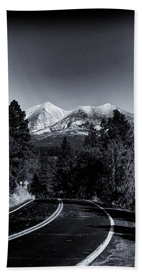 Arizona Beach Towel featuring the photograph Arizona Country Road In Black And White by Joshua House