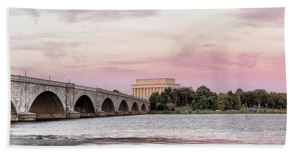 Photography Beach Towel featuring the photograph Arlington Memorial Bridge With Lincoln by Panoramic Images