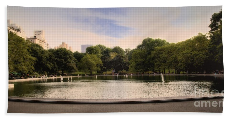 Pond Beach Towel featuring the photograph Around The Central Park Pond by Madeline Ellis