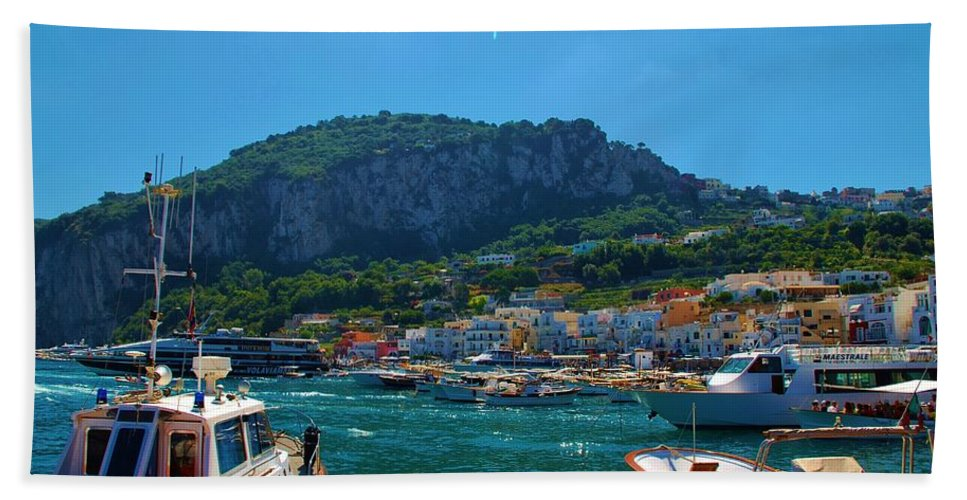 Capri Beach Towel featuring the photograph Arrival To Capri by Dany Lison