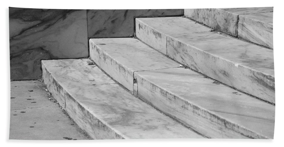 Architecture Beach Towel featuring the photograph Art Deco Steps In Black And White by Rob Hans