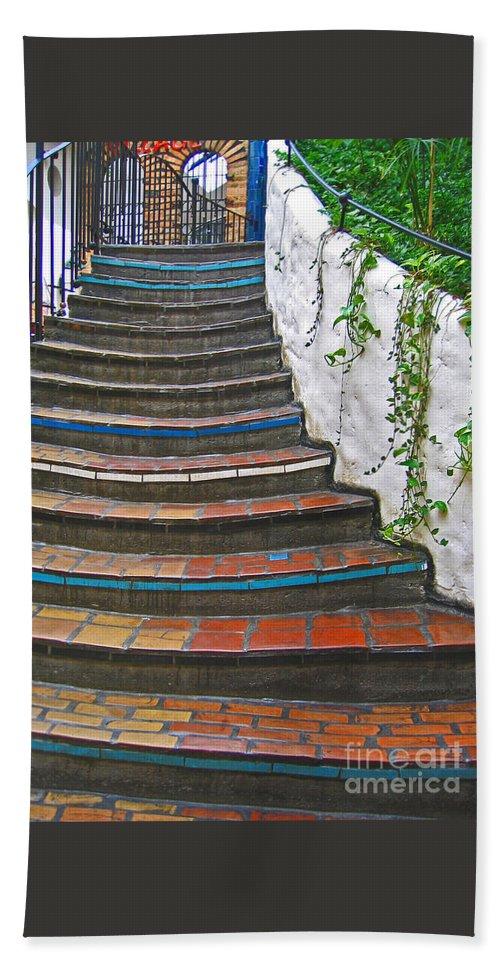 Stairs Beach Towel featuring the photograph Artful Stair Steps by Ann Horn