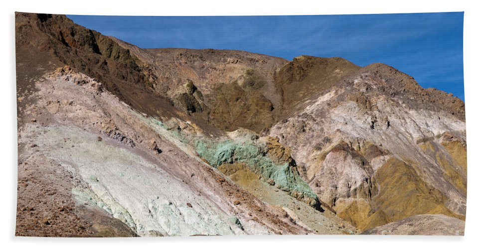 Death Valley National Park California Parks Artist's Palate Colored Rock Rocks Mountain Mountains Landscape Landscapes Desertscape Desertscape. Beach Towel featuring the photograph Artist's Colors by Bob Phillips