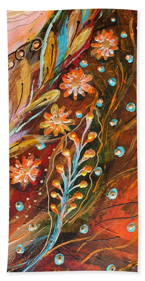 Jewish Art Prints Beach Towel featuring the painting Artwork Fragment 49 by Elena Kotliarker