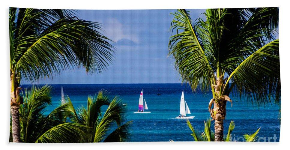 Aruba Beach Towel featuring the photograph Arubian Sails by Judy Wolinsky