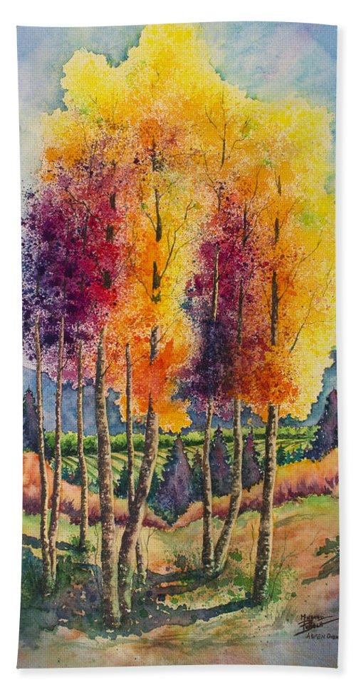 Aspen Beach Towel featuring the painting Aspen Overlook by Michael Bulloch