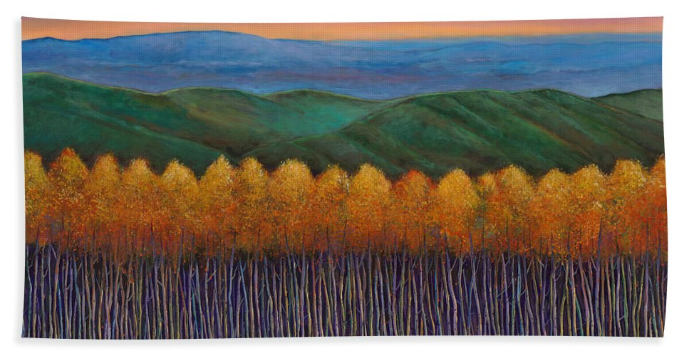 Autumn Aspen Beach Towel featuring the painting Aspen Perspective by Johnathan Harris