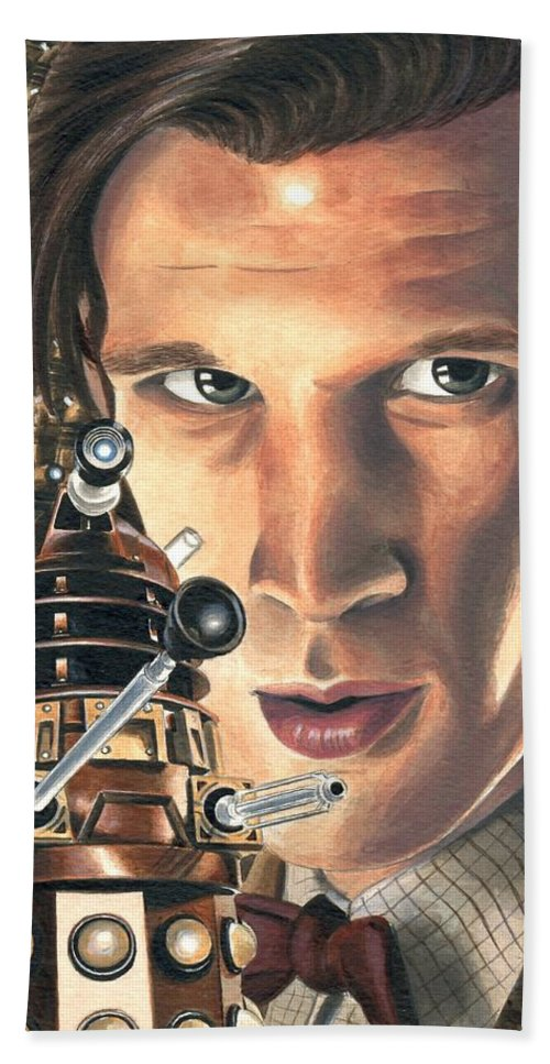 Dr Who Beach Towel featuring the painting Doctor Who - Asylum Of The Daleks by Marc D Lewis
