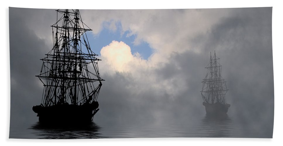 Seascape Beach Towel featuring the photograph At Anchor by Ron Jones