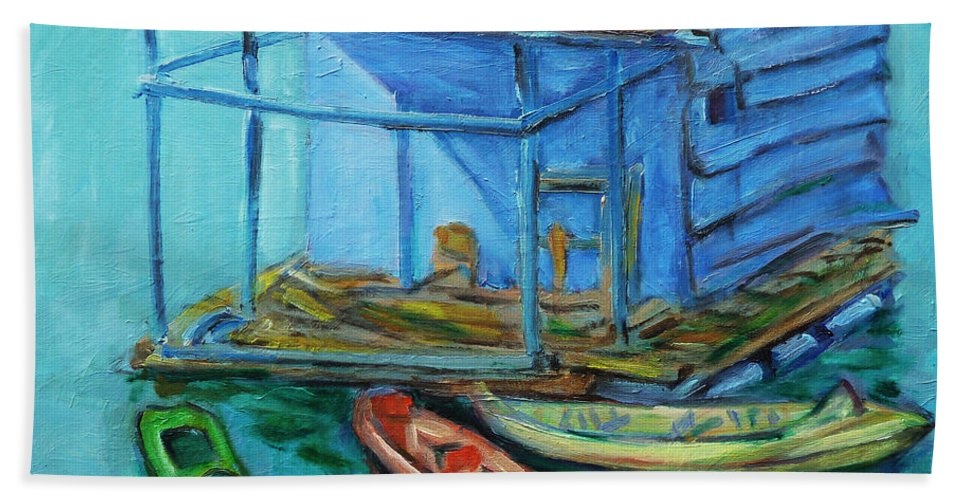 Landscape Beach Towel featuring the painting At Boat House by Xueling Zou