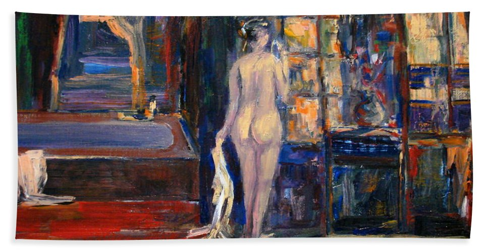 Nude Woman Bath Interior Beach Towel featuring the painting At The Bath by Adel Sansur