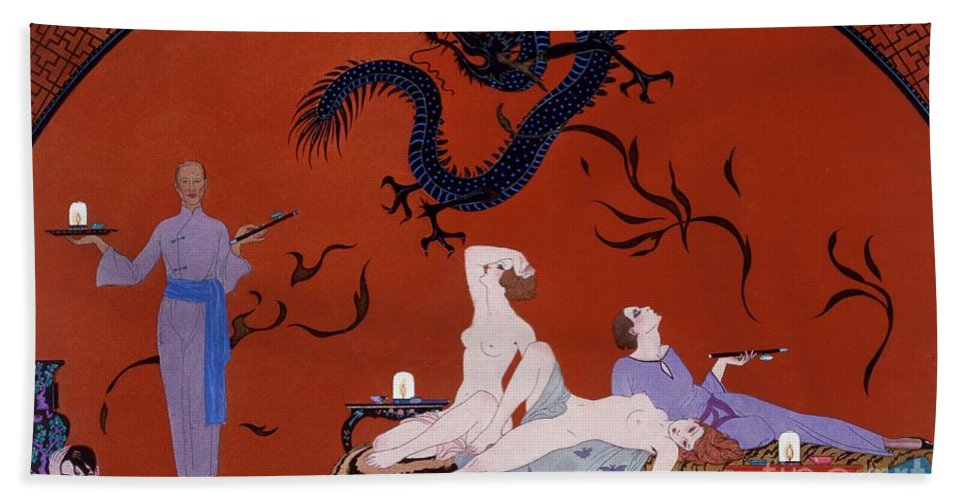 Pasotz Beach Towel featuring the painting At The House Of Pasotz by Georges Barbier