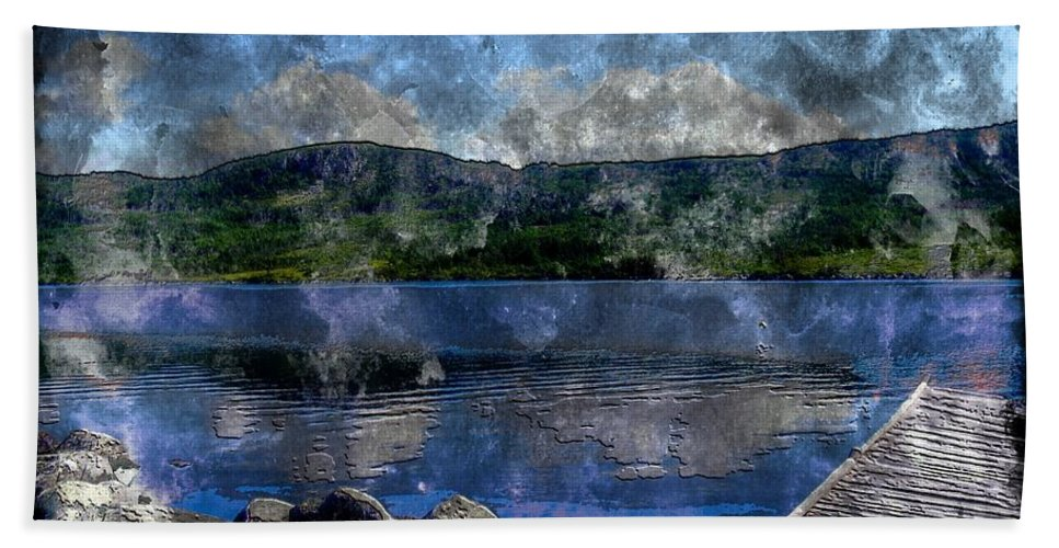 At The Lake Beach Towel featuring the photograph At The Lake - Fishing - Steel Engraving by Barbara Griffin