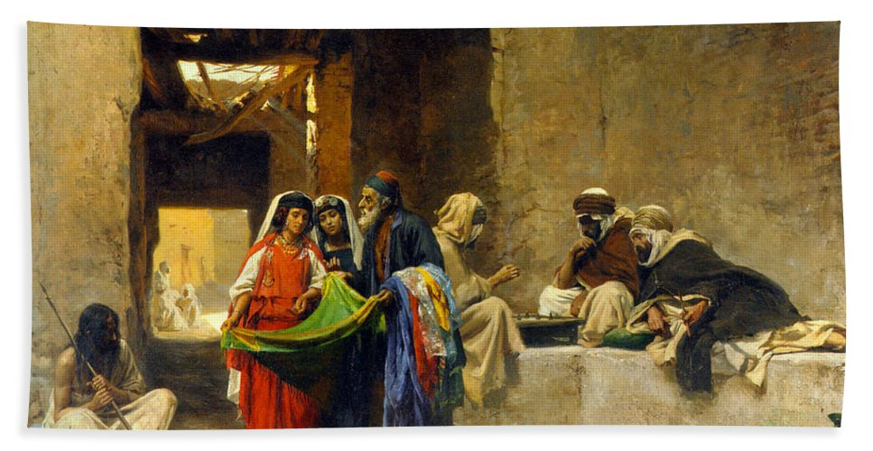 Orientalism Beach Towel featuring the photograph At The Souk by Munir Alawi
