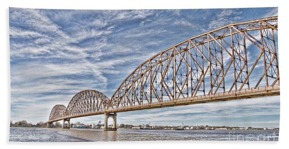 Bridge Beach Towel featuring the photograph Atchafalaya River Bridge by Scott Pellegrin