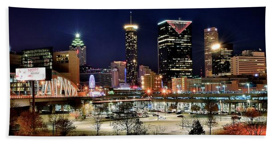 Atlanta Beach Towel featuring the photograph Atlanta Panoramic View by Frozen in Time Fine Art Photography