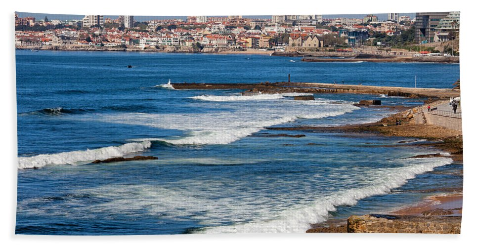 Estoril Beach Towel featuring the photograph Atlantic Ocean Coast In Cascais And Estoril by Artur Bogacki