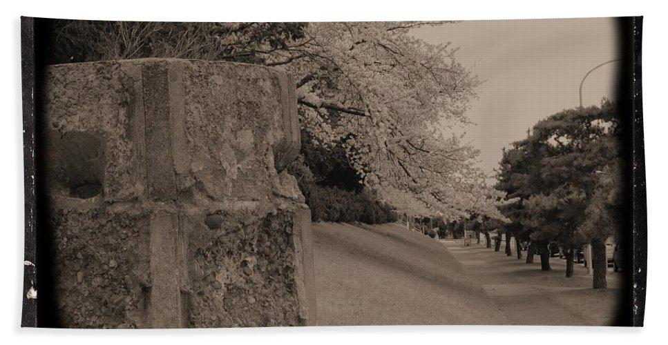 Cherry Beach Towel featuring the photograph Atsugi Pillbox Walk C by Jay Mann