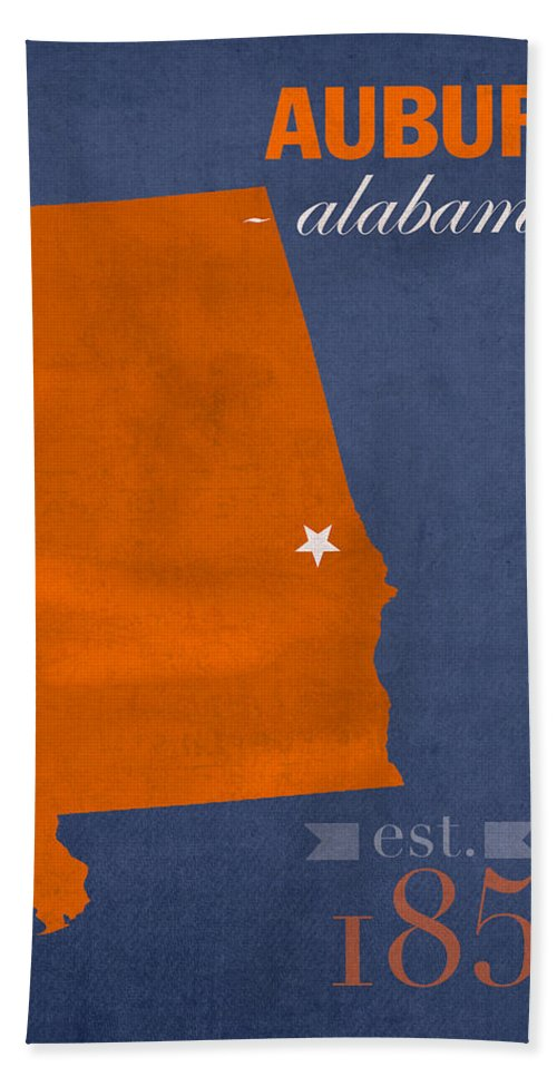 Auburn University Beach Towel featuring the mixed media Auburn University Tigers Auburn Alabama College Town State Map Poster Series No 016 by Design Turnpike