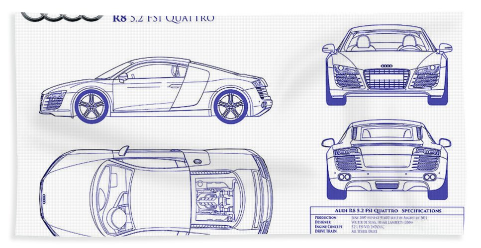 Audi r8 blueprint beach towel for sale by jon neidert audi r8 blueprint beach towel featuring the photograph audi r8 blueprint by jon neidert malvernweather Image collections